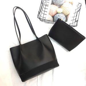Black and brown women's leather shoulder bag